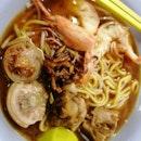 Prawn Mee Pig Tail Noodle soup