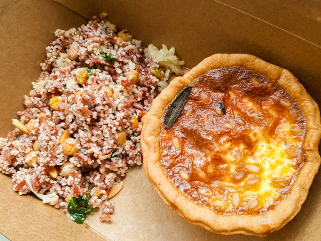 Pumpkin, Pine Nut and Sage Tart + Roasted Cauliflower, Chickpea and Cous Cous Salad ($15.90)