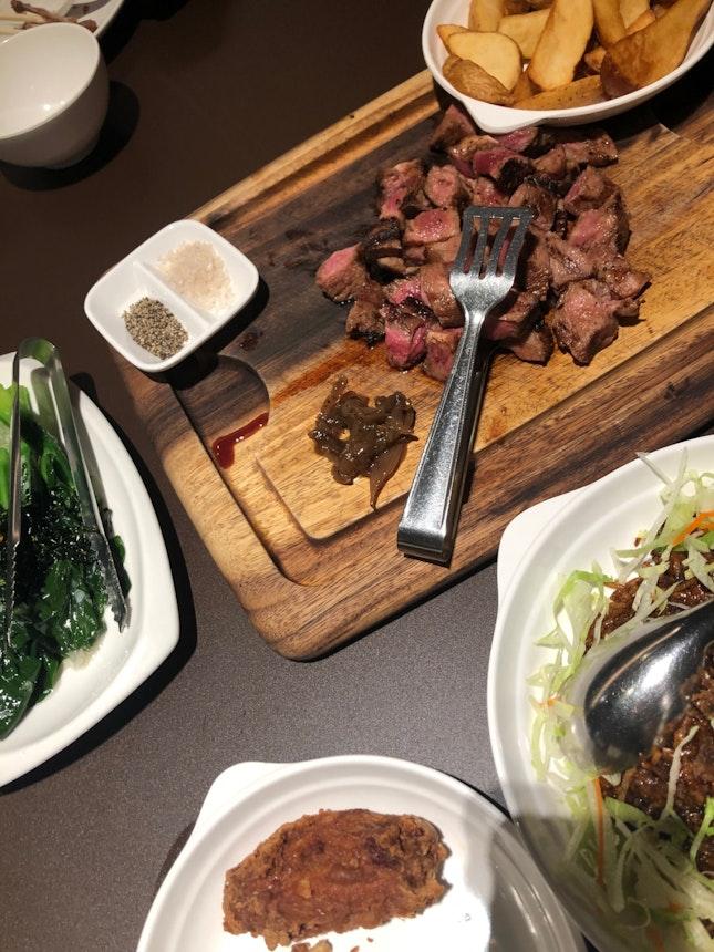 steak and beef rice, kailan w crispy seaweed, prawn paste chicken