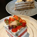 Delicious watermelon cake topped with strawberry, lycee and grape it is so refreshing.