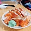 Salmon Sashimi ($10 For 5 Slices)