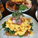 Truffle Scrambled Eggs With Prosciutto and Kale