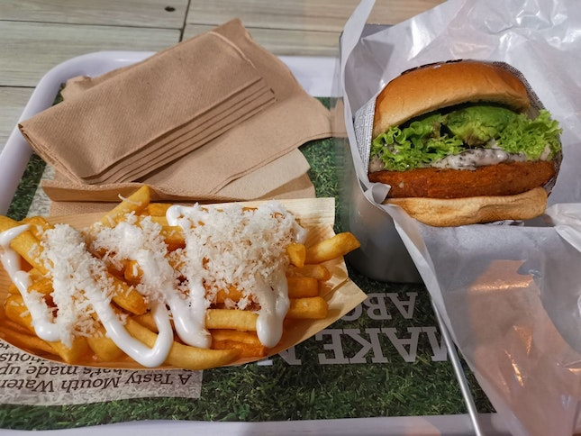 Shrooms Burger And Coconut Fries