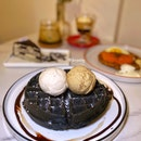 Charcoal Waffle with Pistachio and Rum & Raisins Ice Cream