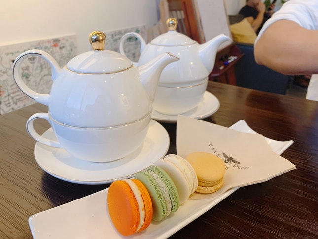 2 Macarons + Tea ($12.50 per set)