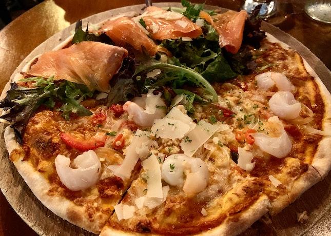 """Half Spicy Garlic Shrimp & Half Smoked Salmon Pizza (Regular 9"""")   $22 + $2.50 (for Half & Half) + $3 (Top Up For Spicy Garlic Shrimp)"""
