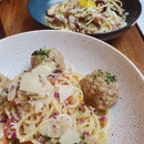 Handmade meatball pasta $16.00 | Truffle carbonara pasta $18.00
