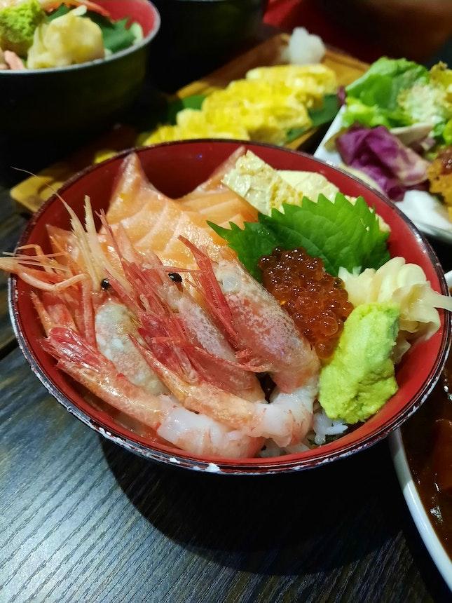 Salmon Amaebi Don ($15)