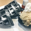 Charcoal Waffles a la mode (with my choice salted caramel ice-cream) [$7.50]