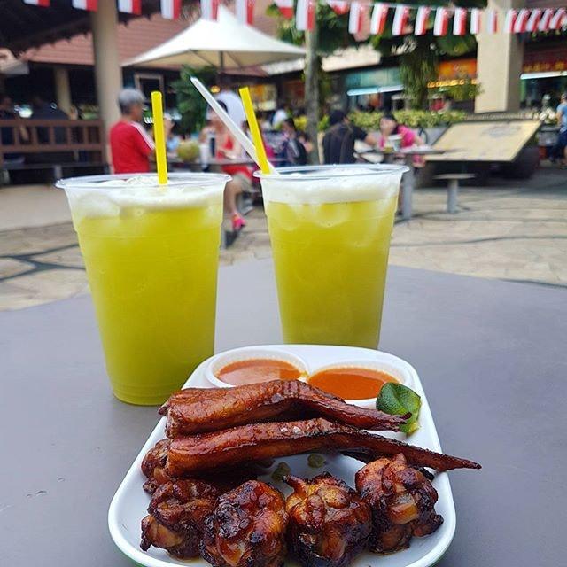 Celebrating National Day the Singaporean way at East Coast park enjoying local food.