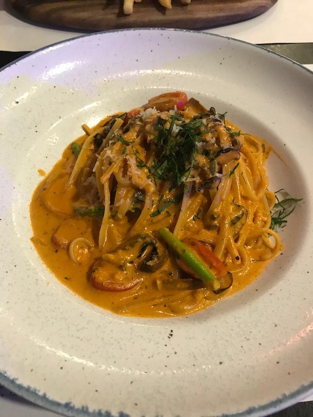 'Pink' sauce asparagus pasta ($26)