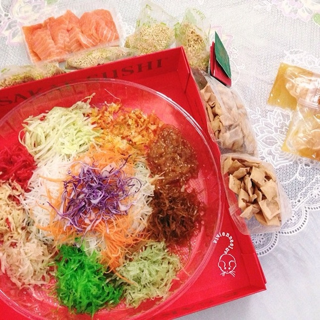 Lo hei with the team, followed by mahjong, snackings, drinking.