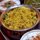 Another dish before I go for some shopping • [WADI PULAO S$16] - Long grained rice tossed together with a selection of grounded spices and fresh herbs, along with soya bean nuggets.