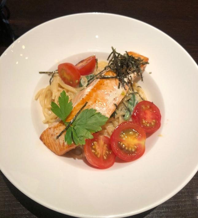 fantastic salmon miso pasta