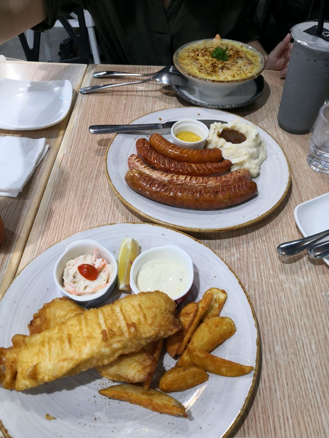 Snapper Fish n Chips, Salmon Cheese Baked Rice, Bangers & Mash