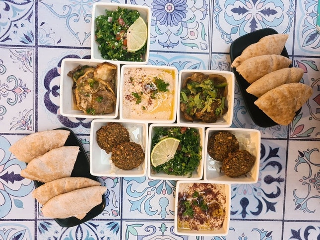 Big Dipper Set With Falafel, Hummus, Tabbouleh & Babaganoush