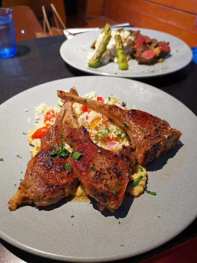 Mildura Lamb Cutlet ($38+) & Charcoal Steak ($36+)