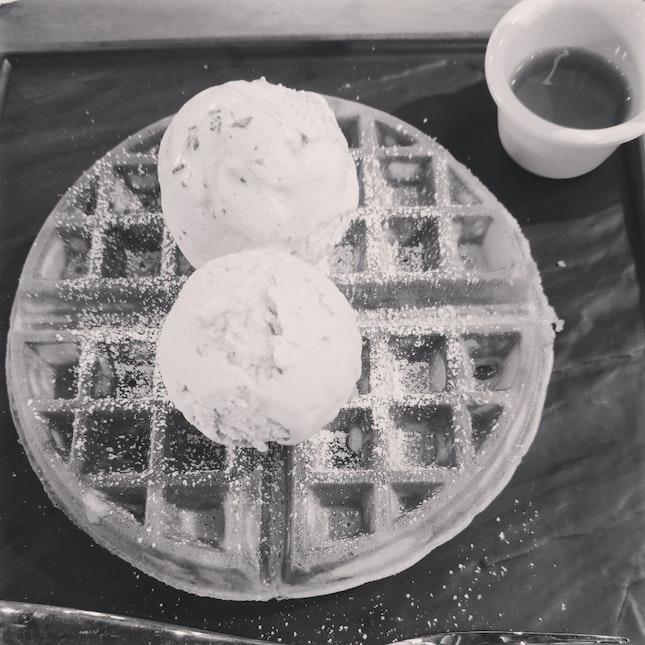 Waffle With Mont Blanc & Cinnamon Chocolate Fudge($14)
