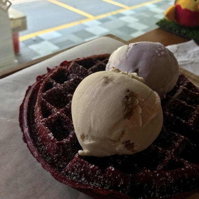 Taro Coconut  & Speculoos Ice Cream w/ Red Velvet Waffles