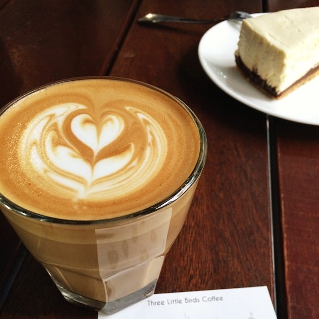 Latte and a cheesecake for breakfast #coffee #latte #foodporn