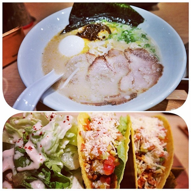 Hakata-Style Ramen and Spicy Pork Tacos #japanese #ramen #hakata #pork #taco #food #foodporn #instafood