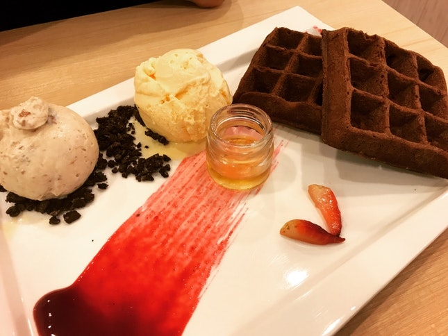 Brownie Waffles With Ice Cream [$13.50]