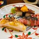 Seared Foie Gras With Hotate And Uni, Amaebi With Prawn Roe Sauce, And Chutoro Truffle