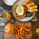 Chicken & Waffle ($22), Pulled Pork Burger ($22)