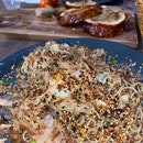 furikake pasta & pork porchetta