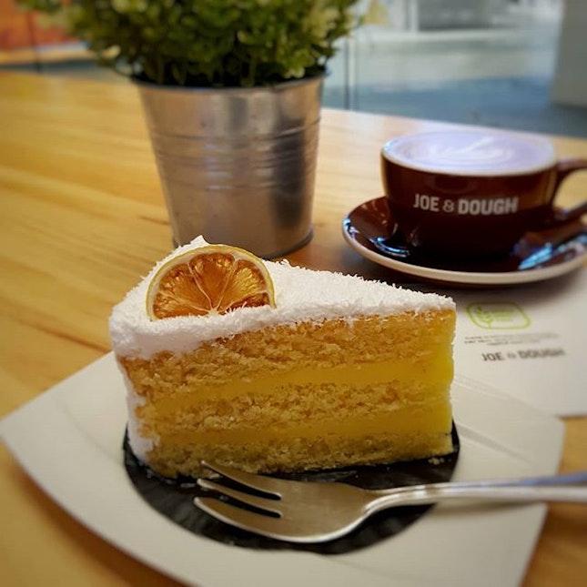 Lemon Coconut Cake + Latte .