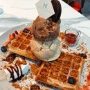 Buttermilk Waffles With Double-scoop Ice Cream