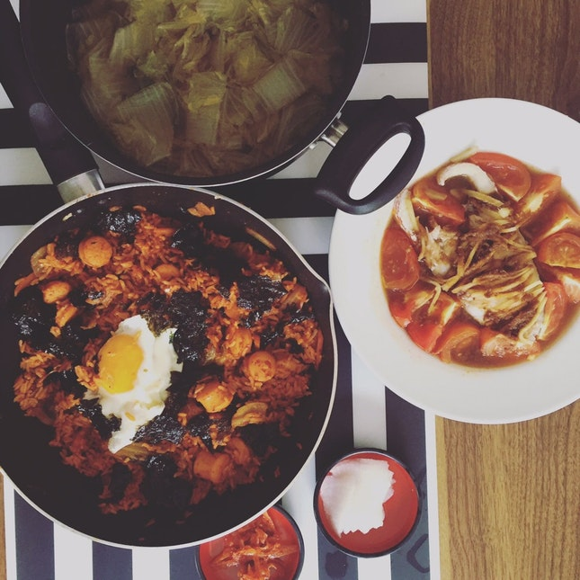 Kimchi Rice, Spicy Fish And Cabbage Soup