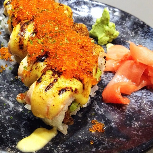 """""""SHIOCK!!!"""" Maki - A heavenly combination of charcoal grilled eel wrapped with lightly roasted salmon. My life has no regret from now on."""