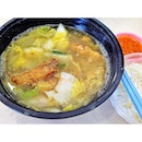 Lunch 1/2: 'Standard' set of fried & fresh fish soup with rice & chili.