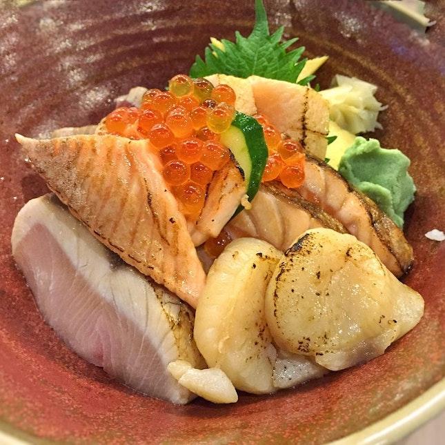 Aburi kaisen chirashi don at The Sushi Bar's new outlet at Ngee Ann City.