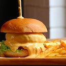 Something cheesy at Toby's  @tobys_the_dessert_asylum  _ Featuring the New Lava Cheese Burger $14.50+.