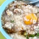 Hainanese Mixed Pork Porridge  _ Minced pork, liver, raw egg.