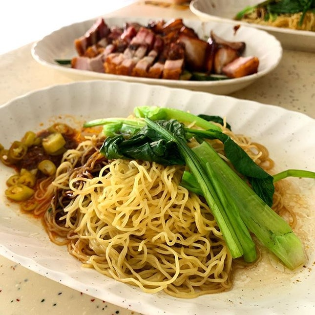 Wanton Noodles with Charcoal toasted Char Siu and Pork Belly  _ Wanton noodles cooked to al dente & springy, mixed into in-house soy sauce, sweet & savoury, with vinegary green chilli at the side.
