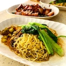 Wanton noodles with charcoal roast Char Siu & Pork Belly _ Good al dente egg noodle with perfect roast of fatty Char Siu and crackling pork belly.