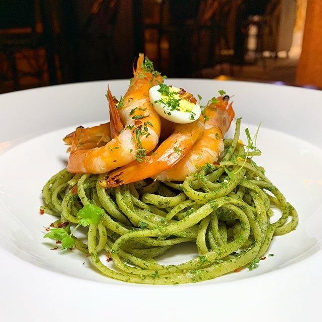 Laksa Pesto Linguine  _ The Laksa leaf pesto that launched the Mod Sin Movement in 2005 served with tiger prawns  _ This is one dish which I have a soft spot since it was first launched in 2005 and did not have the opportunity to try it until the last dinner service for Wild Rocket on Nov 2013, when it closed for renovation.