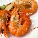 Simple Zi Char dinner _ Steamed 100g of live prawns Wok Hei Hor Fun  Sambal Cuttle fish with kangkong Pork Satay.