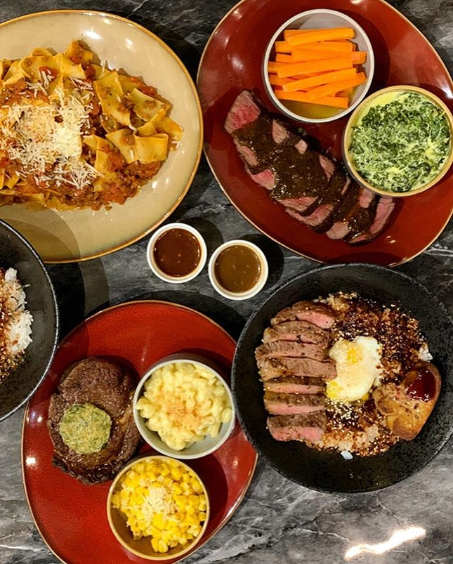 Australian steak galore at MediumRare by Saveur @mediumraresg  _ Pick your range of Australian steak, prepared upon order, served to your favourite doneness and have it with your favourite sides.