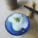 Matcha quail egg with mayonnaise.