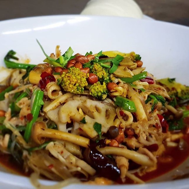"""""""Healthy"""" mala with lots of vegetables (less spicy) followed by black pearl MSW durian nearby."""