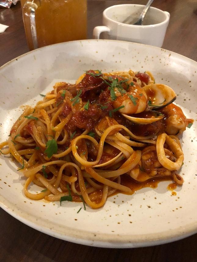 Tom Yam Seafood Linguine
