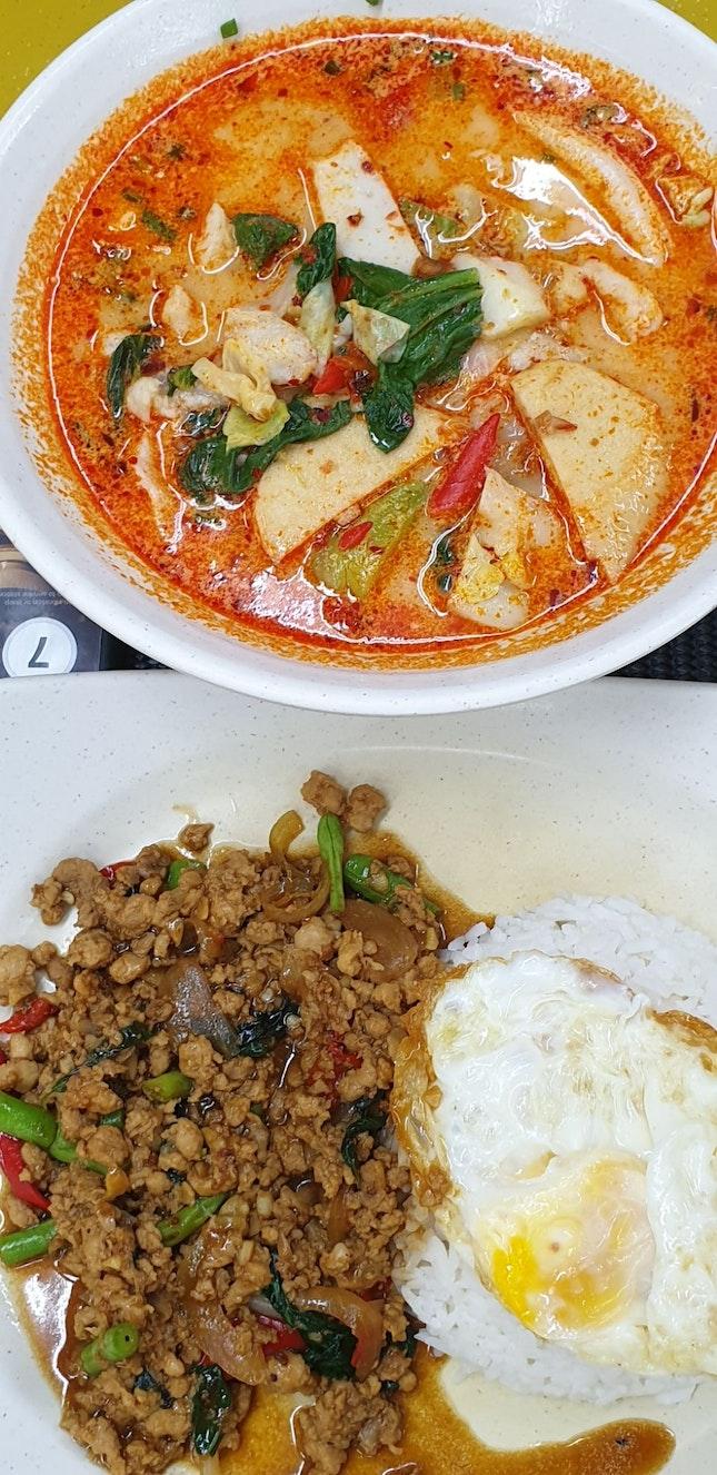 $6 tomyum noodles, $5.80 thai chicken rice