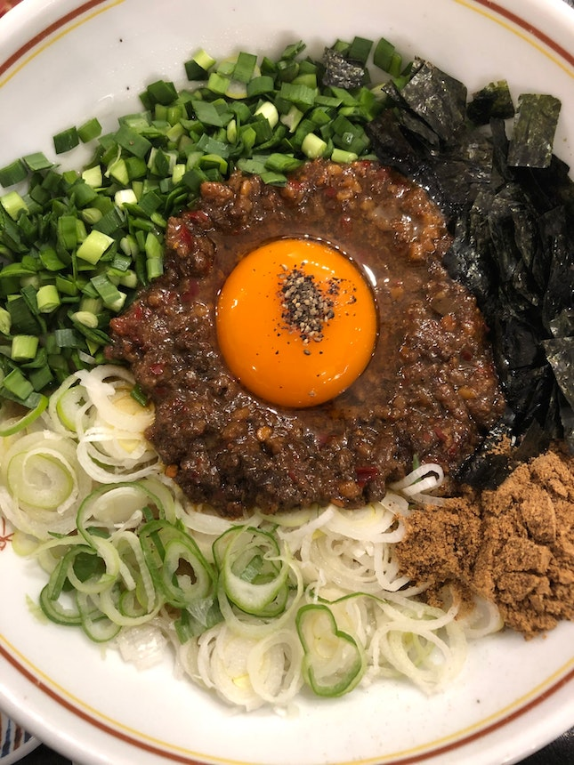 Choose between pork, beef or their signature mix for this mazesoba