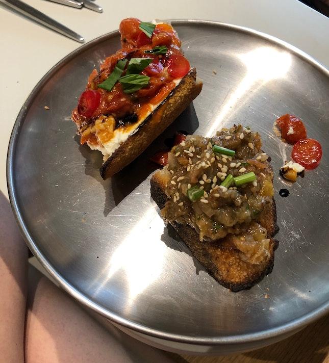 Tomato Ricotta & Eggplant Tartine