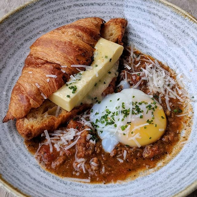Weekend brunch idea at @ninjabowl - TAMAGO LIKE CHWANMUSHI between the buttery croissant 😋😌