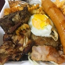 Mix grilled come with giant cheese sausage, chicken, pork, lamb, bacon, egg and 2 side 😋 雜扒,有雞,豬,羊扒,巨起司香腸,蛋和2樣小吃😄 Enjoy free delivery to doorstep with honestbee 😁 .